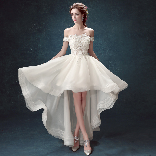 Short Front Long Back Wedding Dress With Short Sleeve