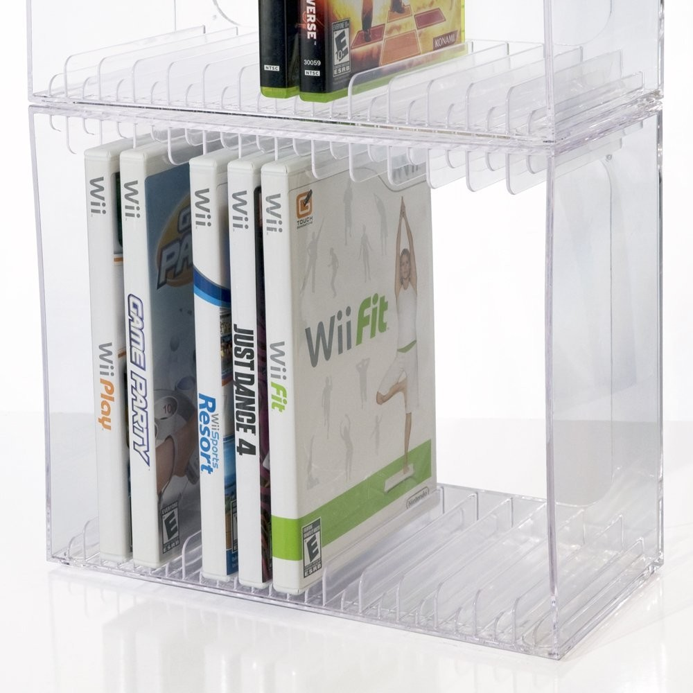 Holds 30 Standard Cd Jewel Cases Stackable Clear Plastic Cd Holder