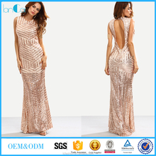 Rose Gold Sequins embroidered prom dresses Backless Mermaid Dress