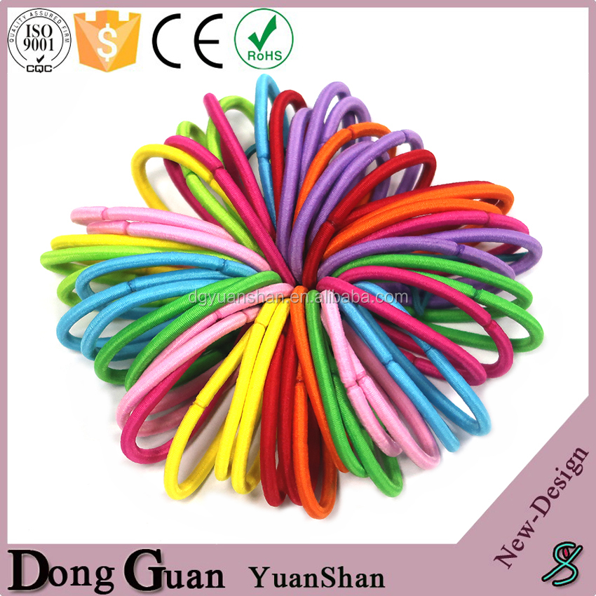 Assorted Color Metal Free Hair Elastic Rubber Bands For Thick Hair