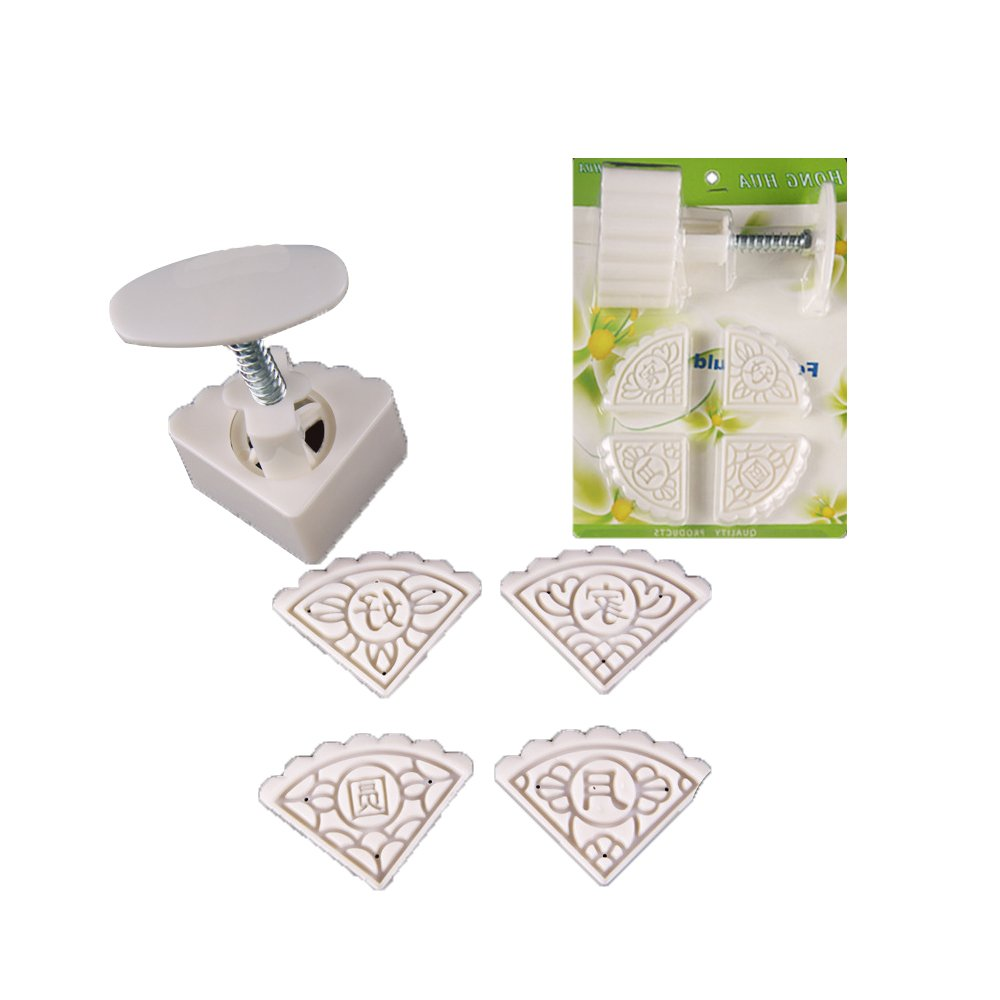 Moon Cake Mold 50g,YouTang Hand-Pressure ABS Material Fan-shaped Moon Cake Mold Biscuit Mold Cookie Cutter Mould, 1 Sets with 4 Flower Square Stamps(White)
