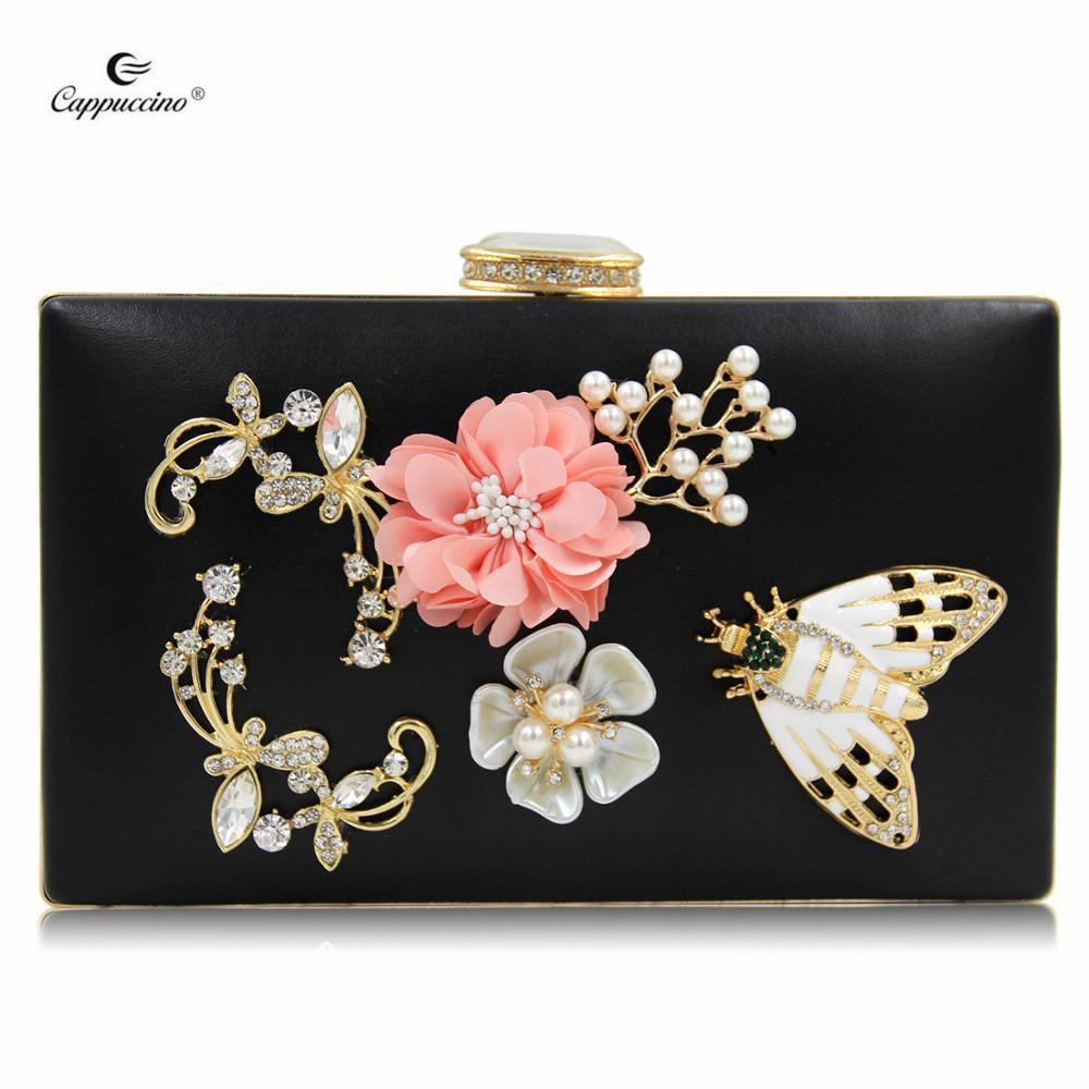 d85ad1aed7ca 2018 капучино популярные женские клатч модный жемчужный цветок вечерние  сумки женские вечерние сумки