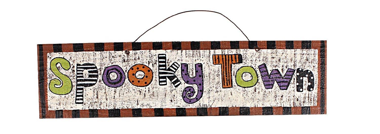 YK Decor Spooky Town Wood Halloween Mischief Sign