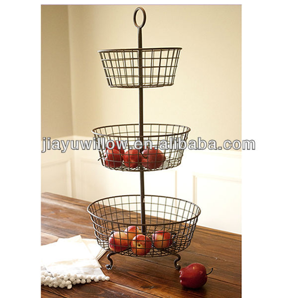 Wood Cotton Netted 3 Tiered Hanging Basket Found Exclusively At Uo Three Concentric Baskets In A Construction Perfect For Displaying Fruit