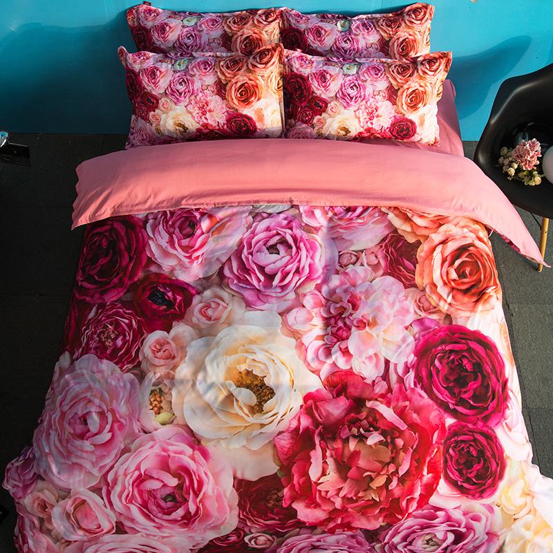 Großhandel Amerikanischen Stil 3d Bettwäsche Set Rot Rosa Gelbe