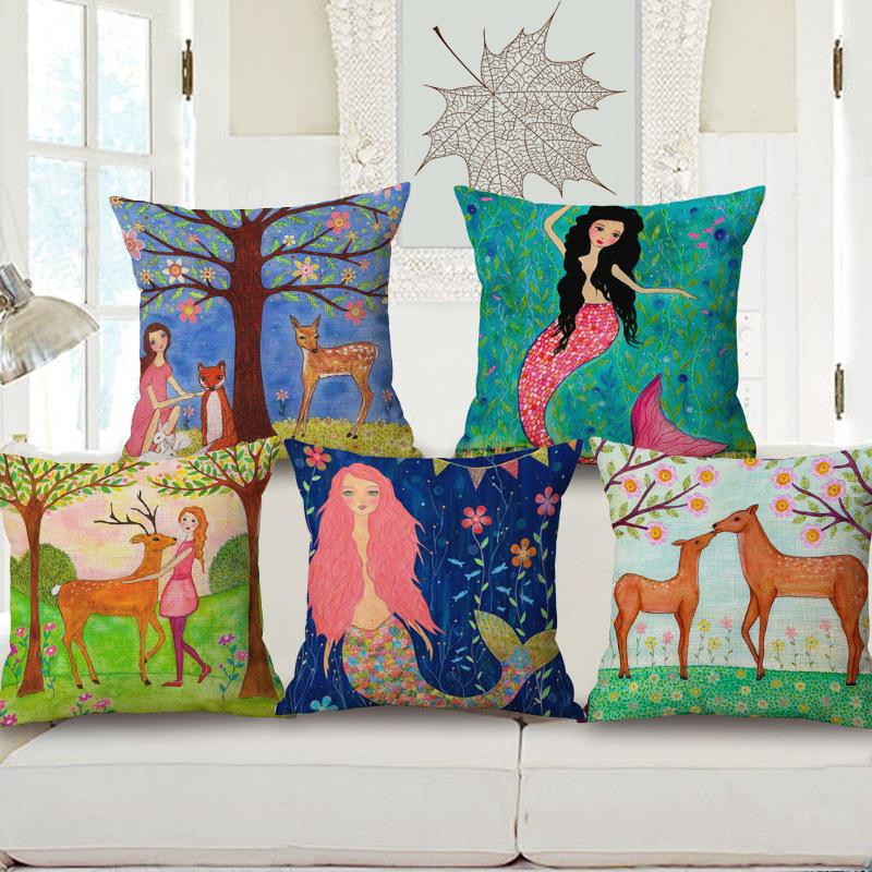Free Shipping Pink Mermaid love deer Cotton Linen Fabric Decorative Cushion 45cm Hot Sale New Home Fashion Christmas Gift Pillow