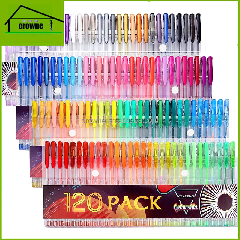 Gelmushta Gel Pens 120 Unique Colors (No Duplicates) Set for Adult Coloring Books Drawing with Case