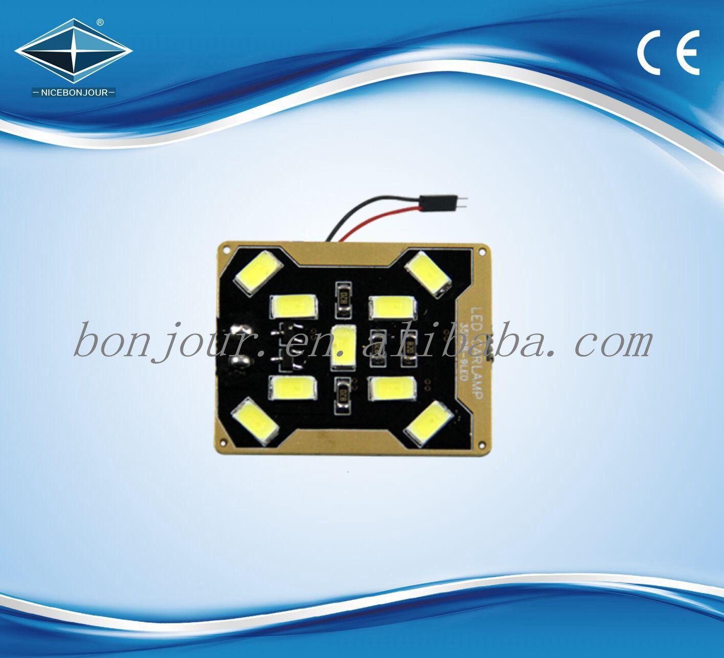 Haute puissance 5730 9 smd LED panneau lumineux plafonnier pour voiture avec adaptateurs optionnels LED T10 festoon ba9s