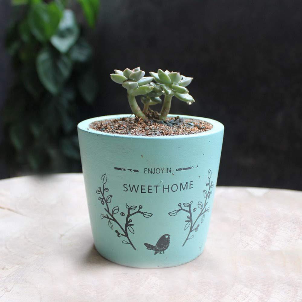 Better-way Concrete Planter Shabby Chic Flowerpots Garden Planters Cement Orchid Plant Pot Autumn Season Home Sense 3.7 Inch (Blue)