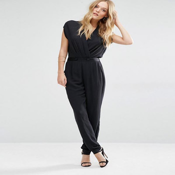 f95f87b05c0 Sexy Deep V neck Jumpsuit With Wrap Front details Cap sleeves summer women  playsuits