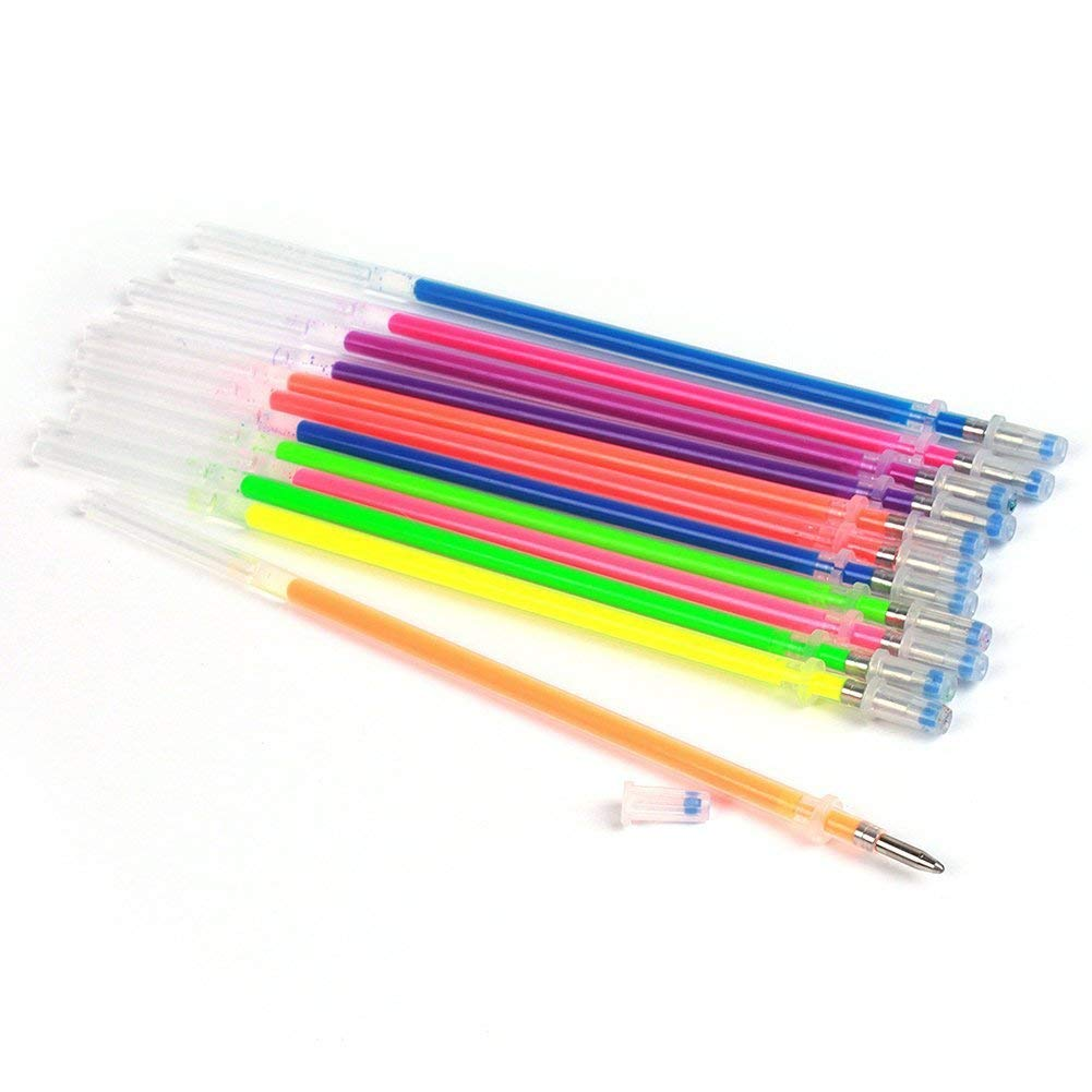 TOOGOO 48pcs Glitter Gel Ink Pen Refills for Gel Pens, Highlighter Metallic Neon Styles Coloring Gel Ink Refills Non-Toxic