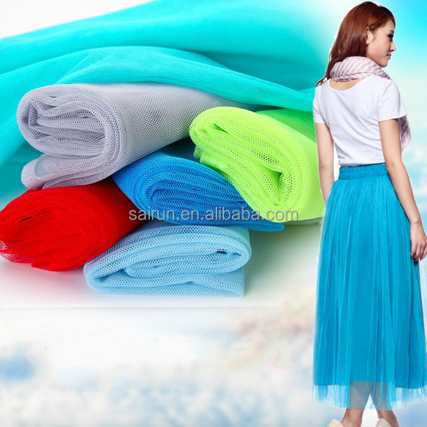 100%polyester different types of mosquito net tulle fabric fishing deco mesh fabric for girl dress