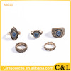 5pcs/set Vintage Ethnic Bohemian BOHO Ring Turquoise Deer Anillos De Animales Bague Punk Women Jewelry ring