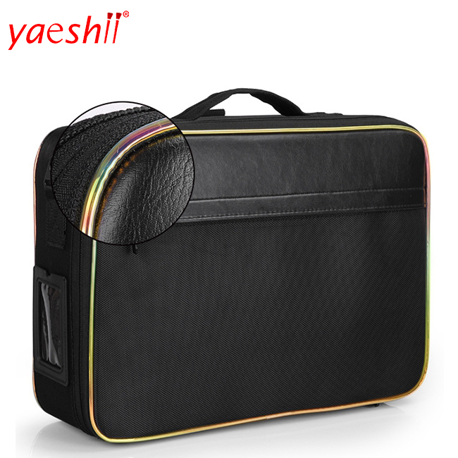 Yaeshii Travel Cosmetic Leather Bag With Three Layers