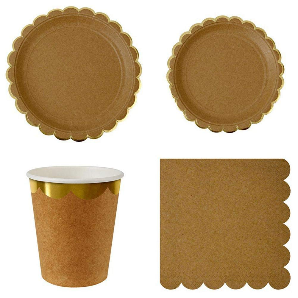 HATABO Wedding Decoration Car Set Hous Number Plate Kraft Paper Themed Decorate Supplies Retro Dinner Party Disposable Tableware Plates Cups Napkins (Random)