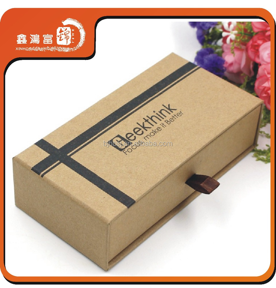 Recyclable custom design rigid kraft paper box with ribbon handle