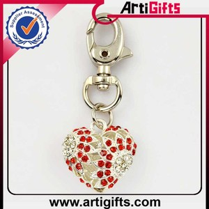 Metal custom zinc alloy diamond heart keychain