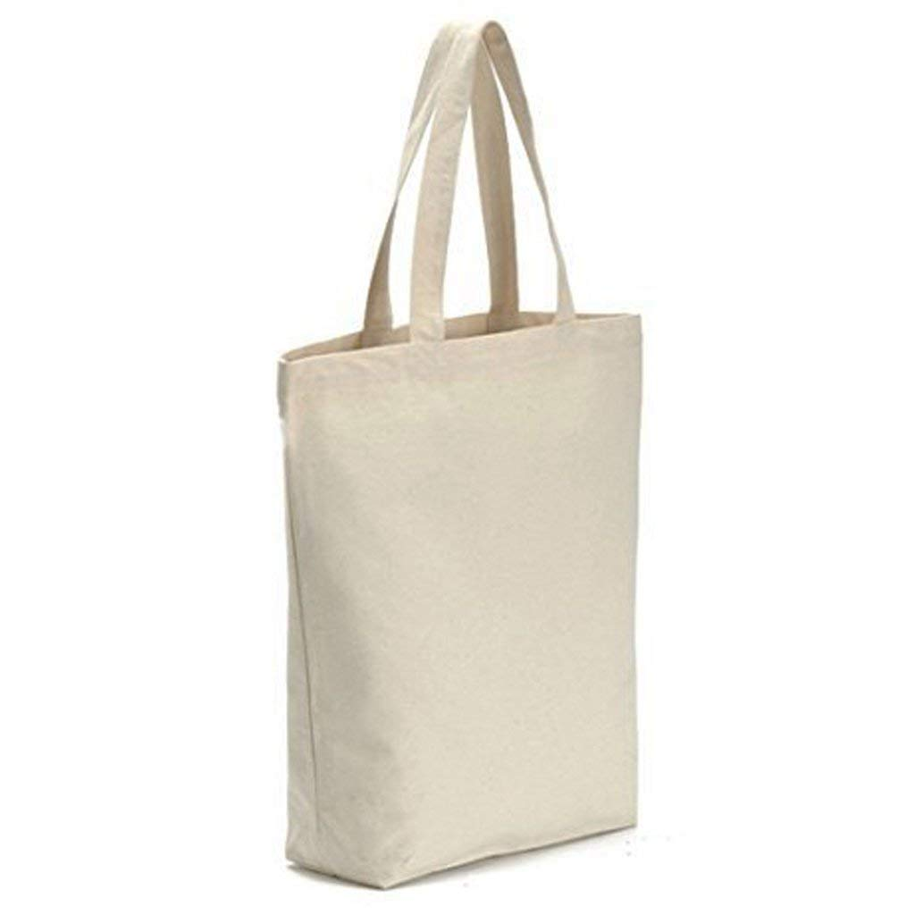 Vivoice Grocery Tote Bag with Zipper - Reusable Grocery Bag Canvas Shopping Bag for Grocery Shopping School Office (white)