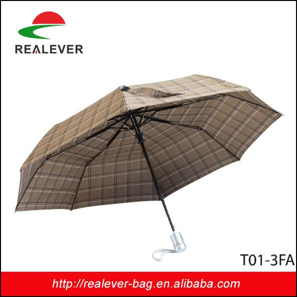 "21"" *8K Brown plaid 190T pongee metal and fiber glass three fold auto open umbrella"