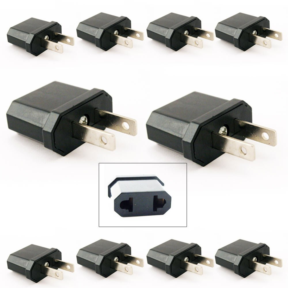 10 Travel Europe to USA Power Plug Adapter Adaptor Convert Convertor Eu To Us