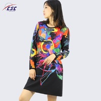 OEM 2018 Breathable digital print colour new rockabilly dress fashion