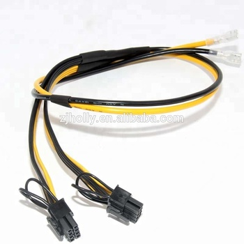 Dual Pci-e 8 Pin 6+2 Pin Pcie Splitter Power Cable With Two Spade Terminals  Mining For Coin 12awg+16awg 50+20cm - Buy Pcie Cable,6 2 Pcie,8 Pin Pcie