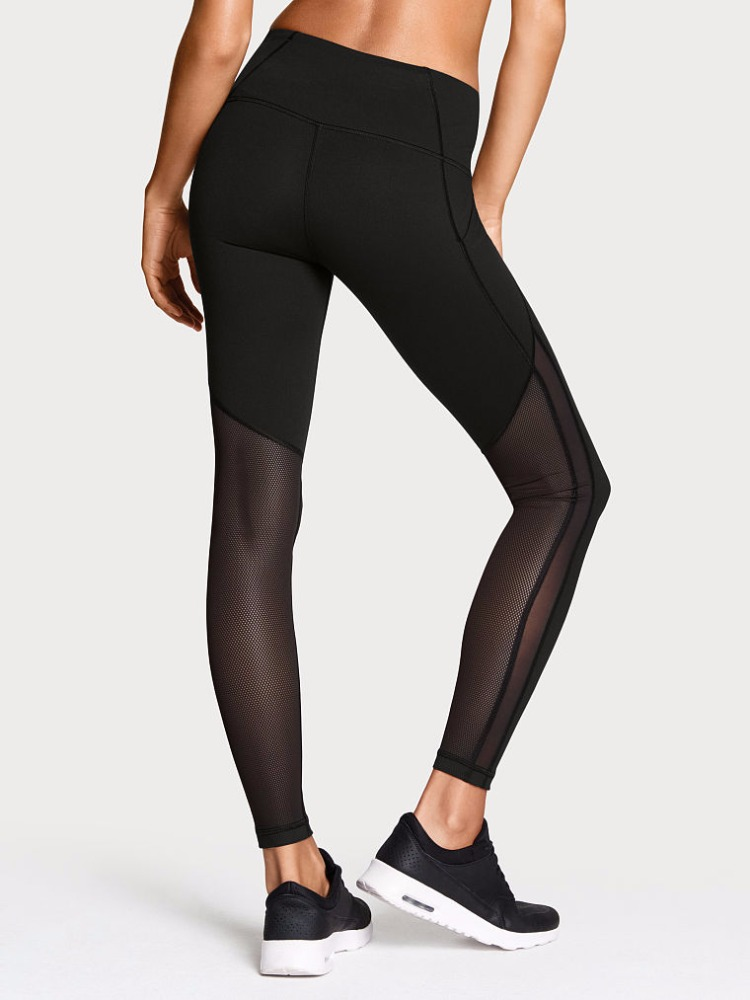 Black color tights with mesh decoration for gym, sports, yoga imported black girls wearing yoga pants