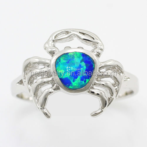 PES fine Jewelry! Lovely Crab Style Blue Fire Australian Opal Cute Ring For Girl (PES6-1384)