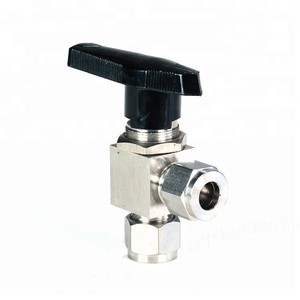 Stainless Steel Right Angle Double Ferrules Ball Valve For Tube Fitting