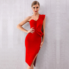 New European and American one-shoulder bandage dress Solid color three-dimensional decorative sexy dress