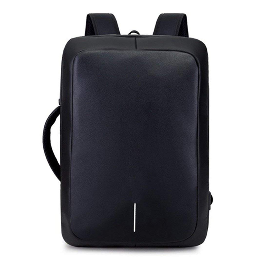 TOOGOO Black new fashion couple USB shoulder bag multi-function breathable pu leather travel backpack solid color men's bag