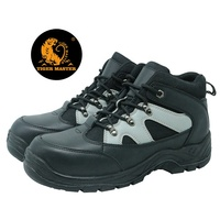Black oil resistant steel toe cap action leather safety shoes price
