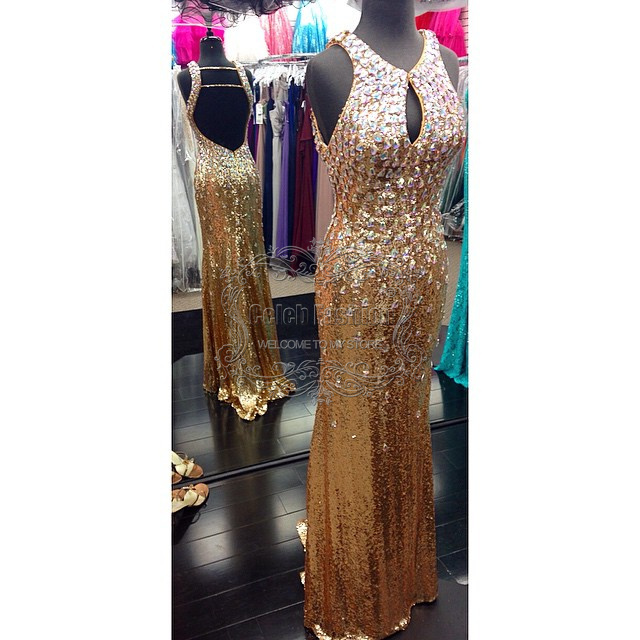 48cfbb39 Get Quotations · Cheap Prom Dress Crystal Beading Top Body V Neck Sexy  Backless Prom Dress Gold Sequined Sparkly
