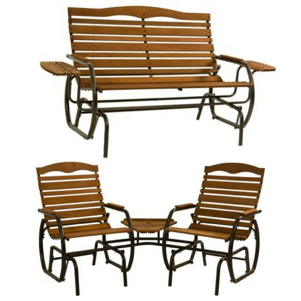Wood Glider With Tray & 2-Seat Wood Glider with Table By Jack Post, Natural Hardwood, Patio Furniture, Outdoor Gliders, High Back, Heavy Duty Metal Frame, Bronze Powder Coated Finish, Classic Decor