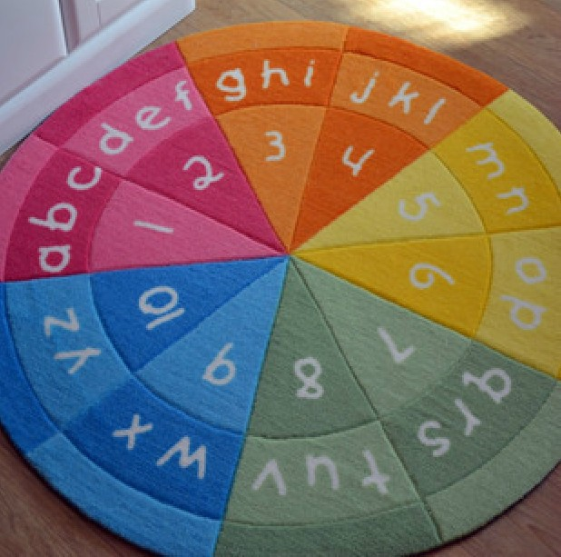 2015 Rainbow Colors Alphabet Figure Round Area Rug