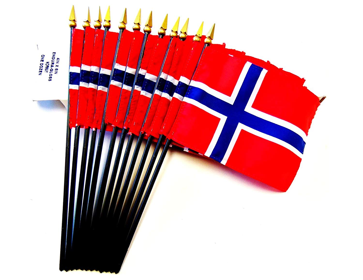 """MADE IN USA!! Box of 12 Norway 4""""x6"""" Miniature Desk & Table Flags; 12 American Made Small Mini Norwegian Flags in a Custom Made Cardboard Box Specifically Made for These Flags"""