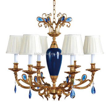 Luxurious vintage victorian style royal imperial blue porcelain and luxurious vintage victorian style royal imperial blue porcelain and crystal golden brass pendant lamp chandelier mozeypictures Choice Image