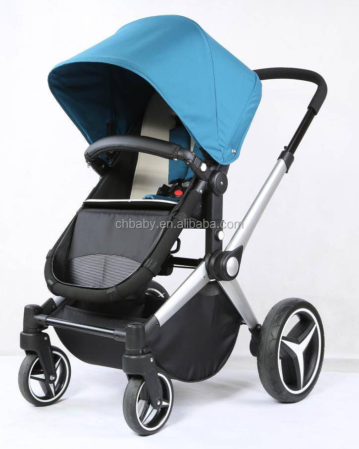 high view polished aluminum frame baby stroller with polyester fabric/ high landscape aluminum baby buggy travel system