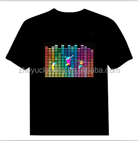 Ningbo el qualizer t shirt ,promotional el lighting t shirt ,music dancing tee