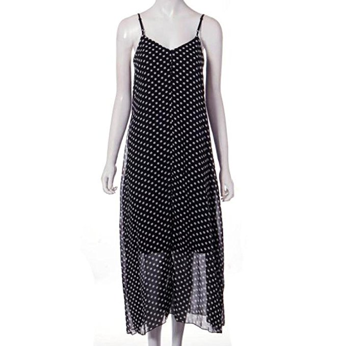 Women's Summer Black&White Dot Print V-neck Beach Long Dress