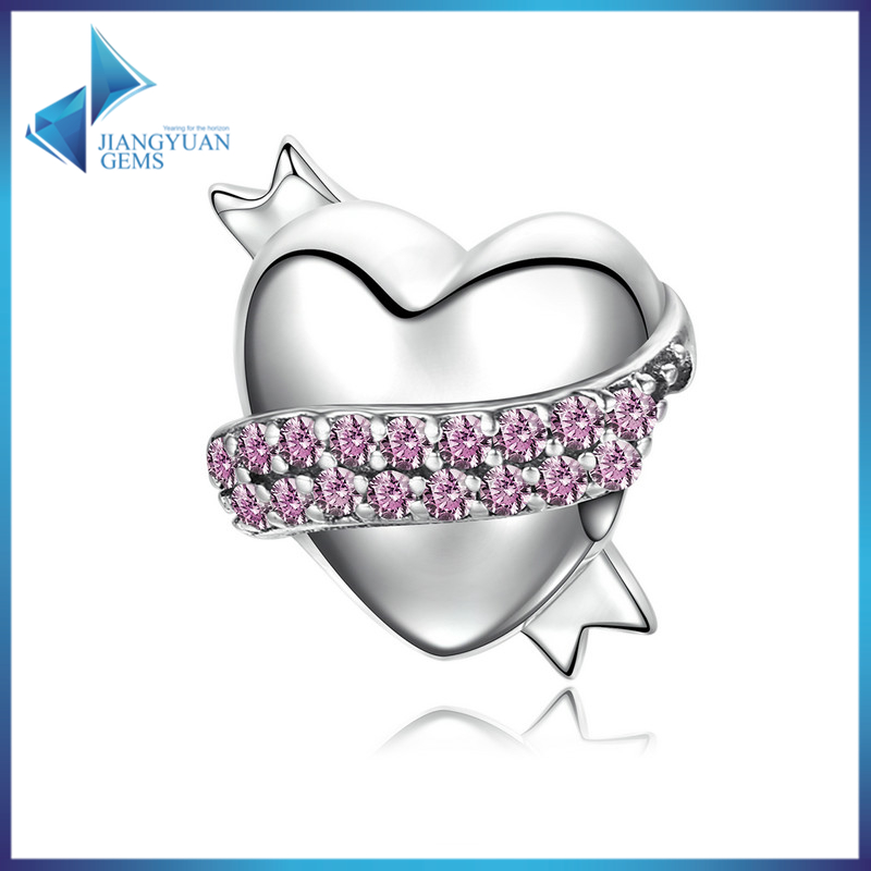Ribbon Heart Charm CZ 925 Sterling Silver Charm fit Bracelet Accessories Jewelry