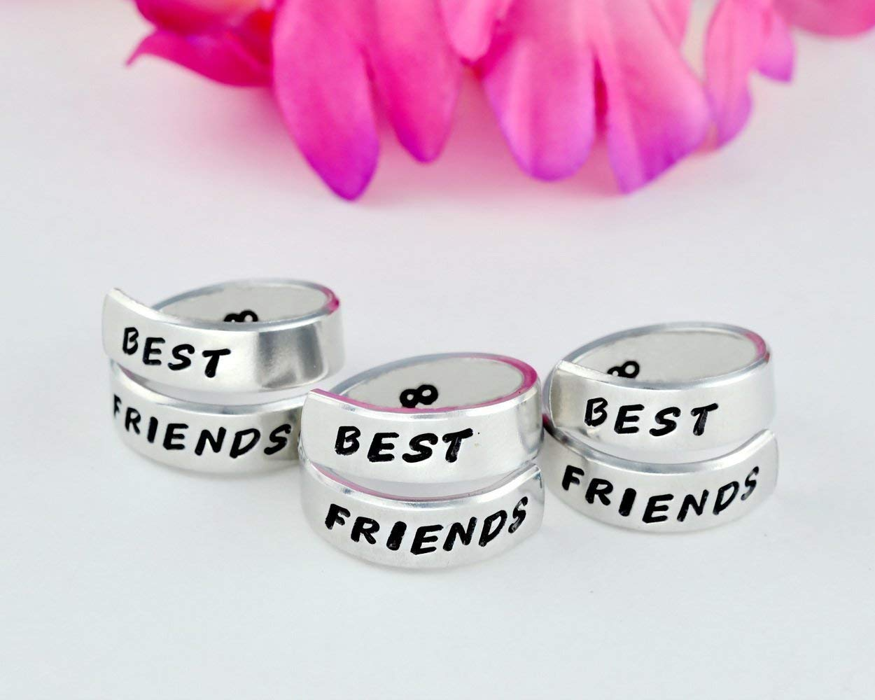 Forever Friends Personalized Gift Sorority Sisters Besties Friendship Wrap Rings Best Friends BFF Hand Stamped Aluminum Spiral Rings Set of 2