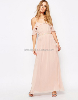 52631791c90 Hot Cheap Pink Pretty Chiffon Cold Shoulder Maxi Dress Long Evening Dress  With Embellished Waist