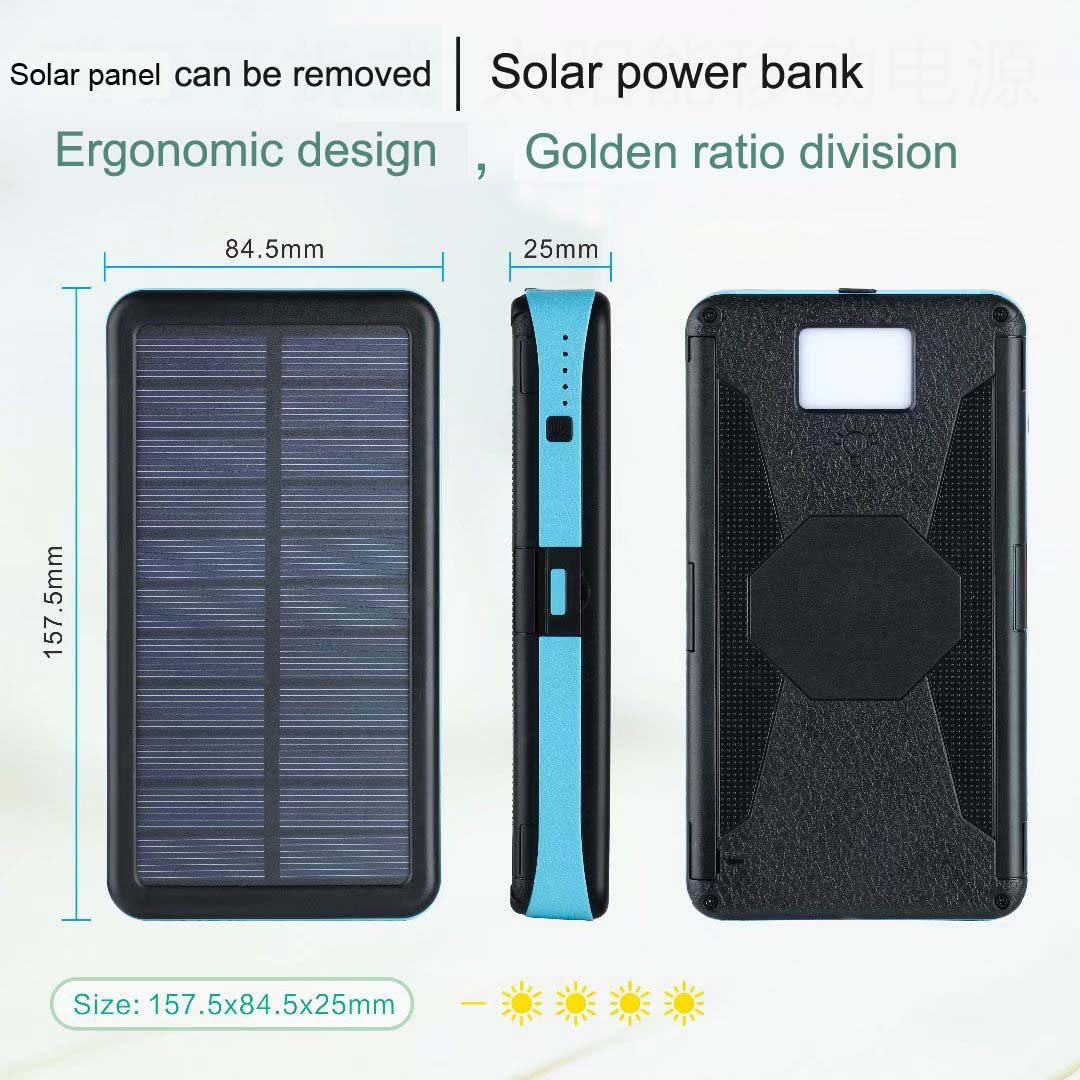 Waterproof Power bank 20000mah high capacity solar power bank for mobile  phone portable power bank solar