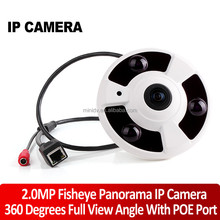 1080P Full HD 2MP Fisheye 360 Degree Wide Angle Panorama IP Camera With POE Port Night Vision Motion Detection