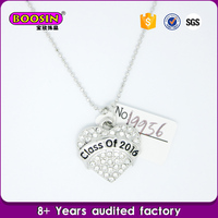 fashion wholesale silver heart crystal pendant necklace with logo engraved