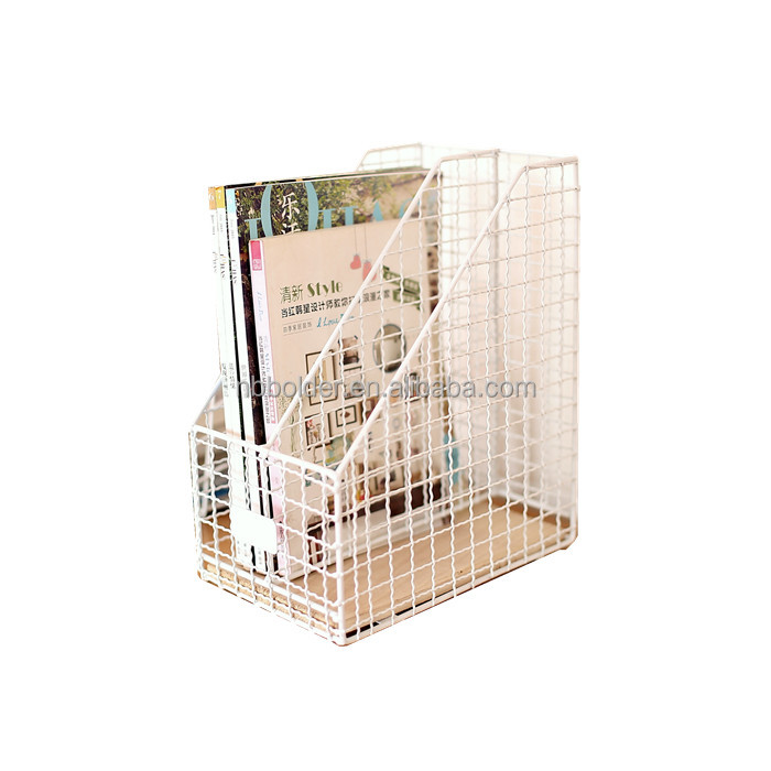 Wholesale 2 tiers metal wire white powder coated magazine file basket holder rack with wood on base office accessory