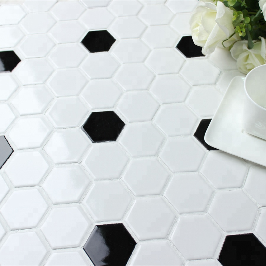 Mm Mosaic Por Porcelain Black White Hexagon Floor Tiles For Bathroom Design