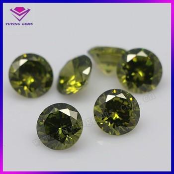 Peridot Round Cz Synthetic Gem Created Gemstone Indonesia