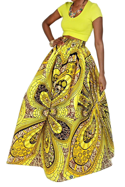 9795164272 Get Quotations · Novia's Choice Women African Floral Print Pleated High  Waist Maxi Skirt Casual A Line Skirt(